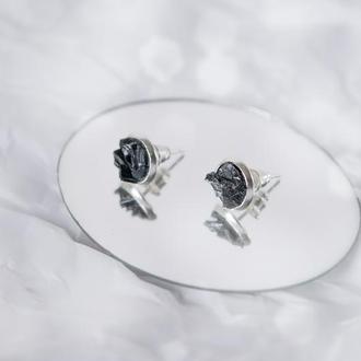 Сережки з чорним турмаліном - серьги с черным турмалином