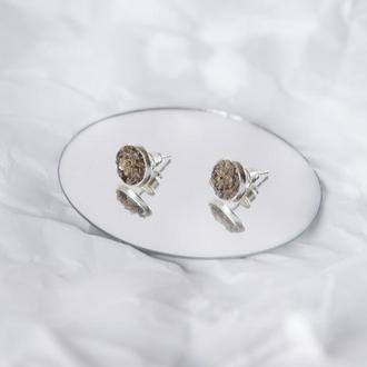 Сережки з раухтопазом - серьги с раухтопазом - дымчатый кварц - раухкварц