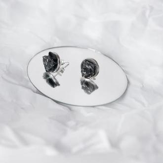 сережки з чорним обсидіаном - серьги с черным обсидианом