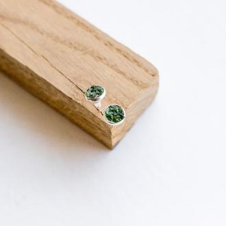 Сережки з хромдіопсідом - сережки гвоздики з хромдиопсидом - зелений діопсид