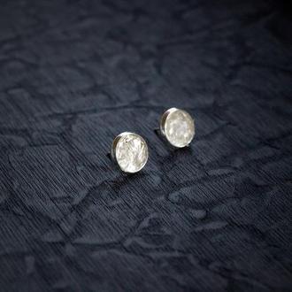 Сережки з кришталем - серьги гвоздики с прозрачным кварцем хрусталем