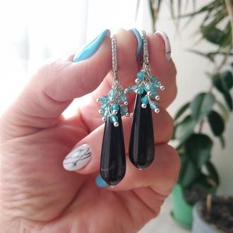Серьги серебряные ′Черный агат и голубой топаз′
