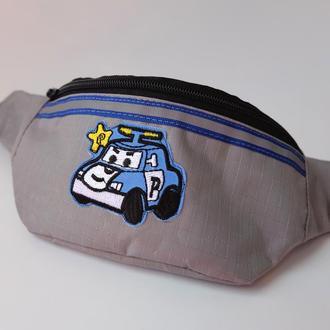 Сумка-бананка с машинкой полиция, детская поясная сумка, барсетка, нагрудная сумка 71(2)