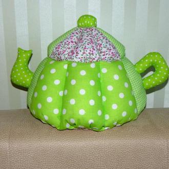 Грелка на чайник Зеленая в горох авторской ручной работы (большая)