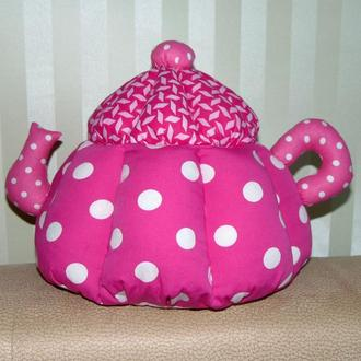 Грелка на чайник Горох розовая авторской ручной работы (большая)
