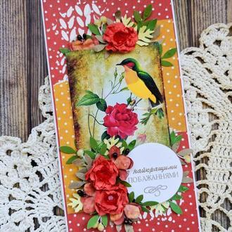 Открытка Птица в розах