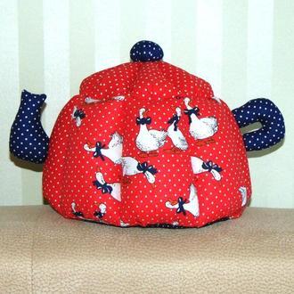 Грелка для чайника ручной работы КРАСНАЯ ГУСИ (маленькая)