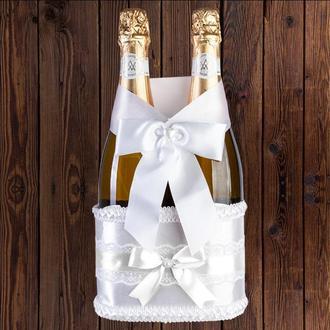 Корзинка для свадебного шампанского, белый цвет (на 2 бутылки), BFB-11