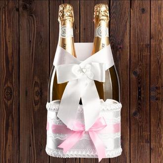 Корзинка для свадебного шампанского, светло-розовый цвет (на 2 бутылки), BFB-14