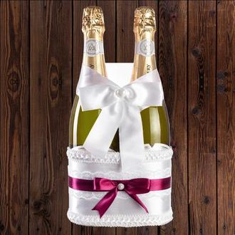 Корзинка для свадебного шампанского, бордовый цвет (на 2 бутылки), BFB-17