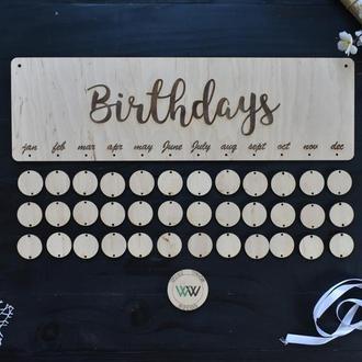Семейный календарь, дни рождения семьи, вечный календарь из дерева,  Birthdays