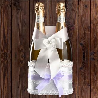 Корзинка для свадебного шампанского, лиловый цвет (на 2 бутылки), BFB-19