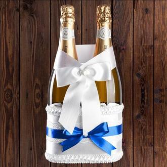 Корзинка для свадебного шампанского, синий цвет (на 2 бутылки), BFB-21