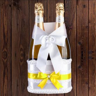 Корзинка для свадебного шампанского, желтый цвет (на 2 бутылки), BFB-22
