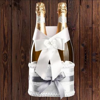 Корзинка для свадебного шампанского, серебристый цвет (на 2 бутылки), BFB-26