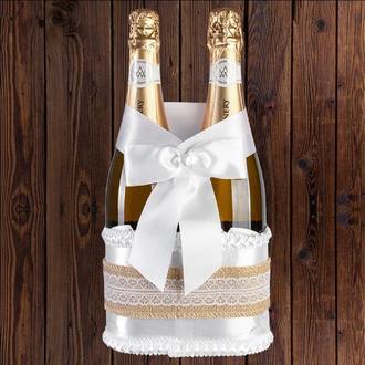 Корзинка для свадебного шампанского, рустик (на 2 бутылки), BFB-30