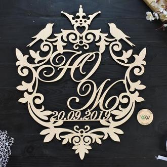 Свадебная монограмма / Инициалы с датой на свадьбу / Семейный герб, без покраски, из дерева