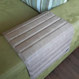 """Кожаный подставка коврик-накладка на подлокотник дивана """"кремовый"""""""