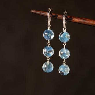 Длинные сережки с цветами (голубые серьги, сережки с гортензией)