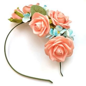 Ободок обруч венок с розами гортензиями цветами