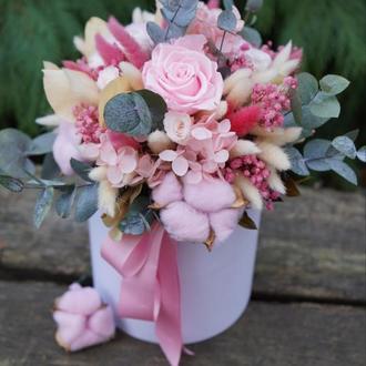 Цветы живые в шляпной коробке