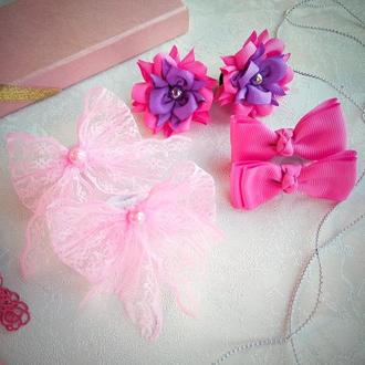 Набор из розовых бантиков на резиночках