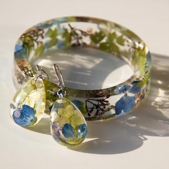 Украшения из эпоксидной смолы с цветами (браслет из смолы с цветами, сережки с цветами)
