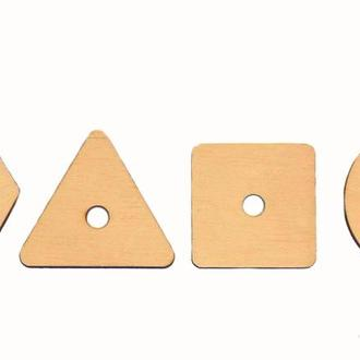 Заготовка для Бизиборда 4 Геометрические Фигуры с отверстием Дерев'яні Геометричні фігури