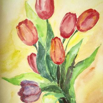 Картина - акварель - тюльпани