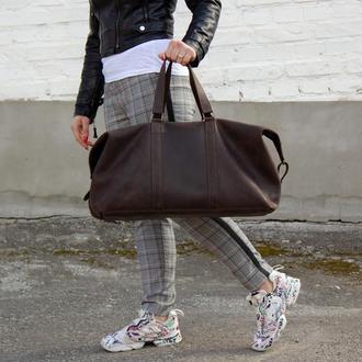 Велика дорожня сумка з натуральної шкіри коричневий