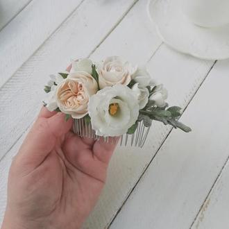 Гребень для волос с цветами из фоамирана