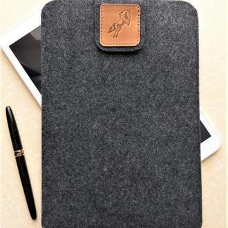 """Чехол для планшета 10"""" (9,7""""-10,5""""), универсальный, темно-серый войлок"""