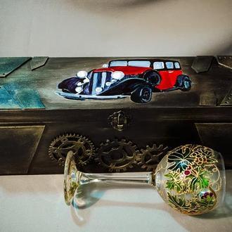 """Короб для вина """"Ретро автомобиль"""""""