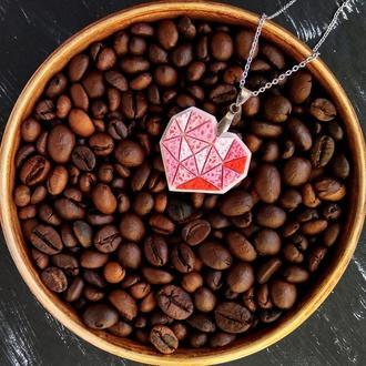 Полігональна підвіска Серце для коханої, або закоханої. Геометрический кулон Сердце для девушки