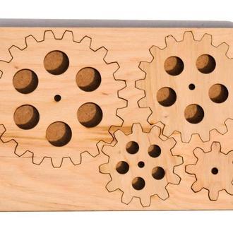 Дерев'яні Шестерні Набір 4 шт на дощечці заготівля для бизиборда дерев'яна яні шестерінки