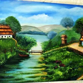 Сельский пейзажик, живопись, размер 30х60см