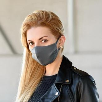 Маска для лица многоразовая тканевая Silenta Графитовый L-size, маска захисна