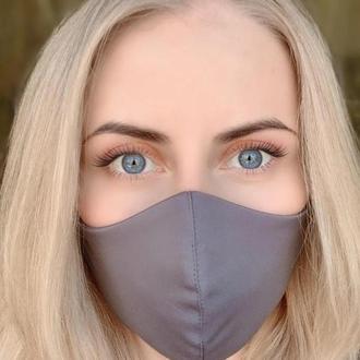 Набор 3 шт. Маска для лица многоразовая тканевая Silenta L-size, Темно-серый