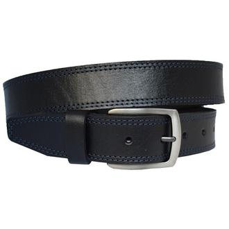 Felix7 кожаный мужской черный ремень с синей строчкой