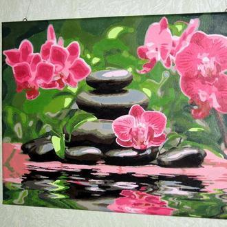 Картина по номерам 30*40 орхидеи камни вода подарок сувенир