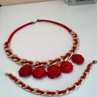 комплект красное  ожерелье и браслет из полимерной глины 45см