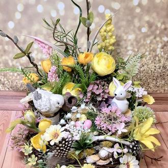 Пасхальная весенняя композиция на стол камин комод венок декор пасхальная композиция на стол венок