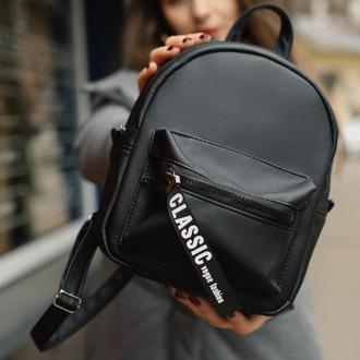 Женский черный рюкзак для прогулок, экокожа