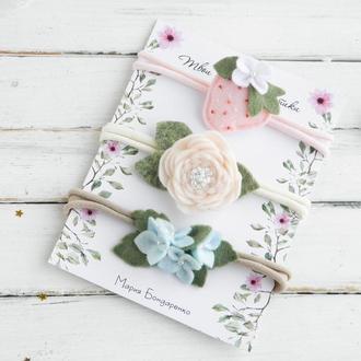 Набор повязок для малышки / Повязки с цветами и клубничкой / Набір пов'язок для дівчинки в подарунок
