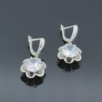 Серебряные серьги Кристал