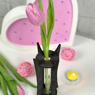 Деревянная оригинальная подставка со стеклянной колбой для одного цветка
