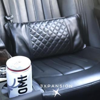 Подушка в машину, кожаная подушка с пледом внутри, ручная работа