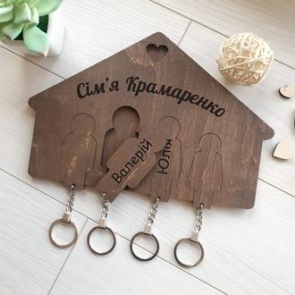 Настенная деревянная ключница ручной работы для дома