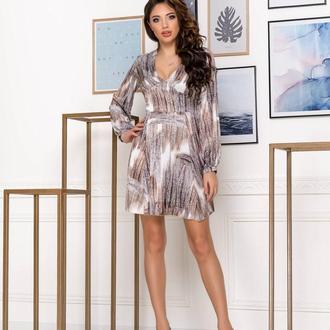 Платье NOBILITAS 42 - 48 бежевое шелк с принтом (арт. 20007)