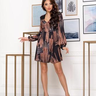 Платье NOBILITAS 42 - 48 коричневое шелк с принтом (арт. 20007)
